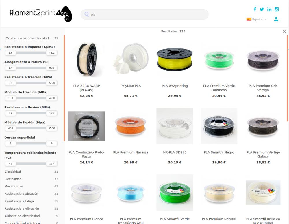 Filament2print buscador avanzado para Prestashop.